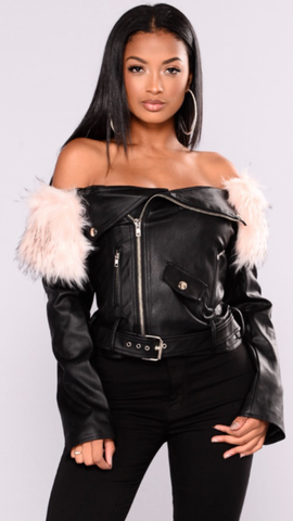 Lana Faux Fur Off The shoulder Faux Leather Jacket