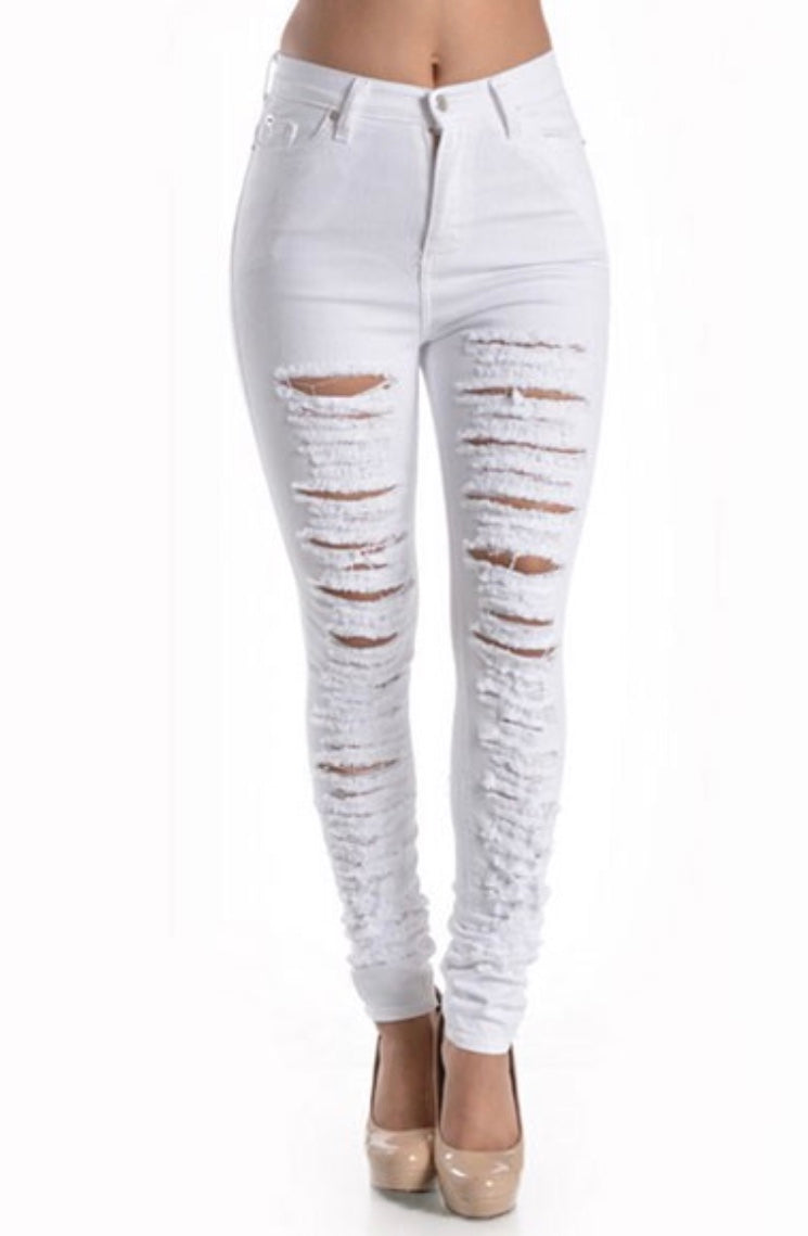 on wholesale professional design elegant shoes Lisa White Ripped High Waisted Jeans