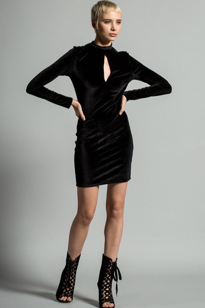 Karen Long Sleeve Velvet Keyhole Dress