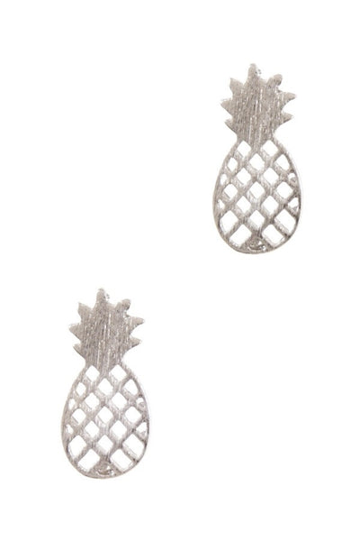 Girl's Silver Tiny Pineapple Delicate Earrings