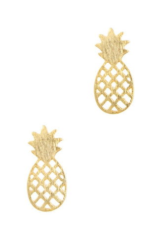 Girl's Gold Tiny Pineapple Delicate Earrings