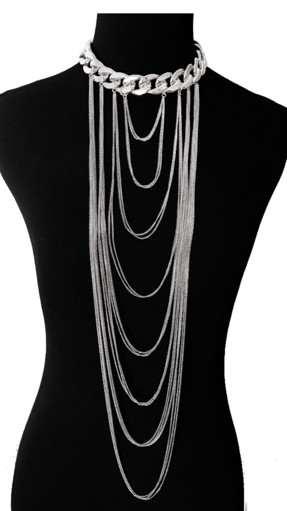 Rhodium Long Layered Necklace