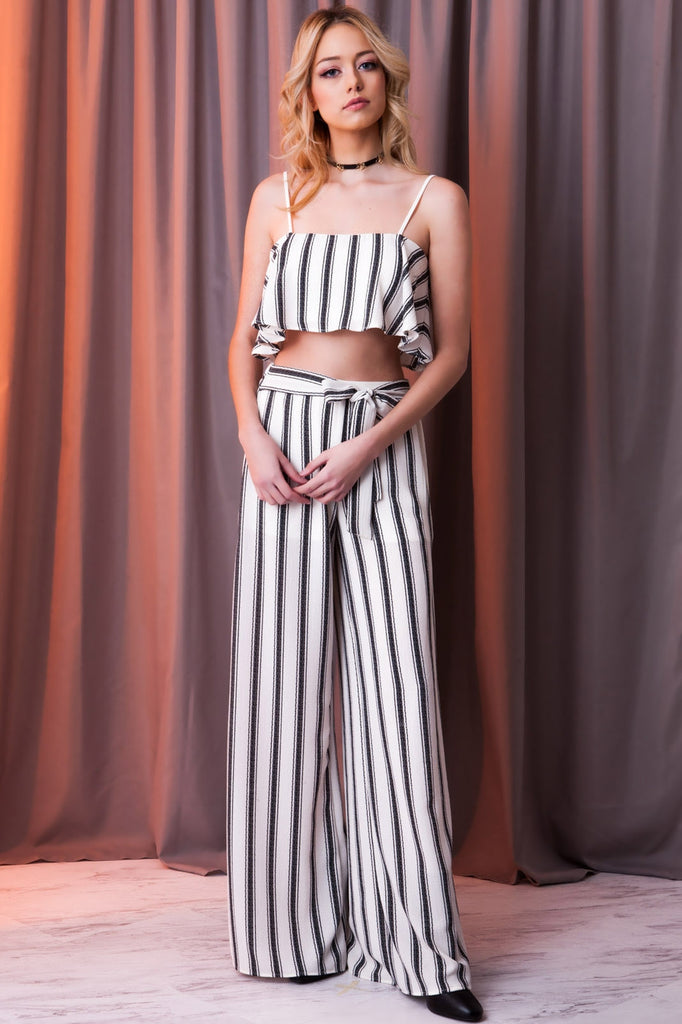 Serena Stripe Crepe Two Piece Set