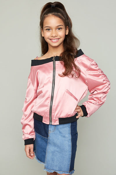 Troi Girls Off The Shoulder Bomber Jacket