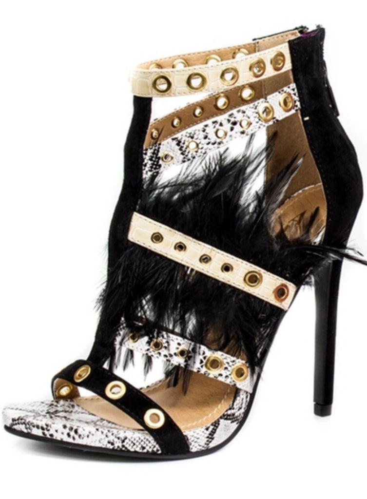 Doris Black Feathered Shoes