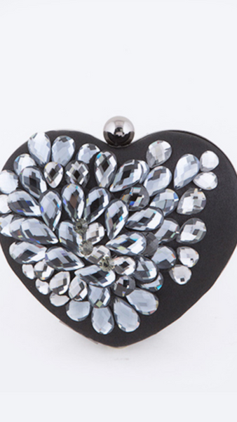 Crystal Flower Heart Shape Clutch w/Chain Strap