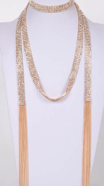 Rhinestone Scarf Necklace