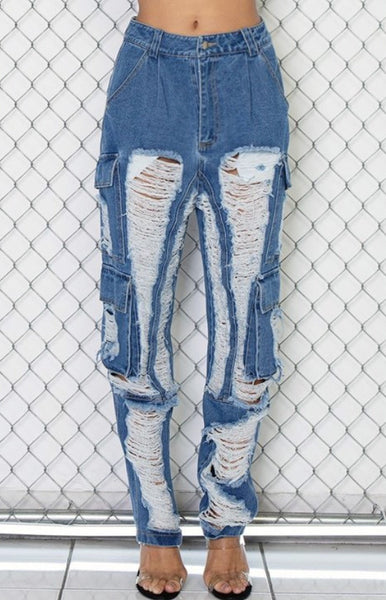 Denise Frayed Denim Cargo Jeans