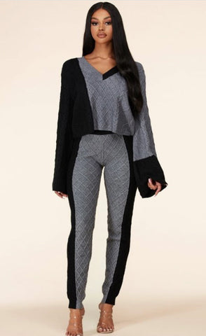 Fatima Two-Tone Cable Knit Loungewear Set