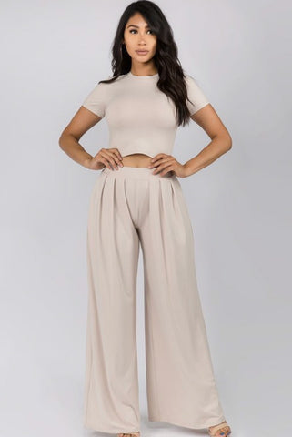 Odessa Oatmeal Two-Piece Crop Top Set