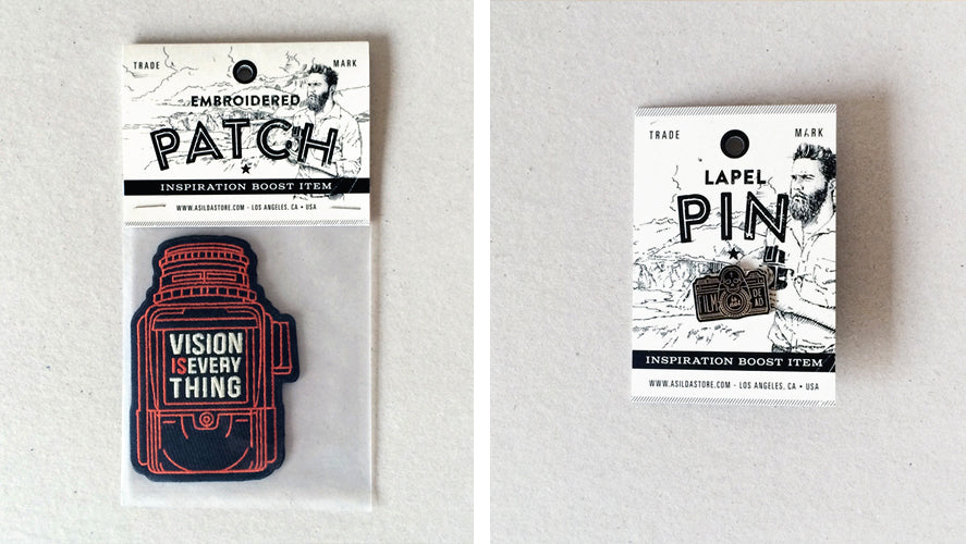 asilda products in new packaging - iron on patches and stickers