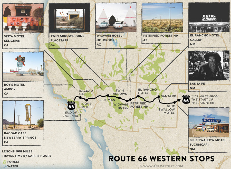 Route 66 Attractions. 9 Western Stops Map