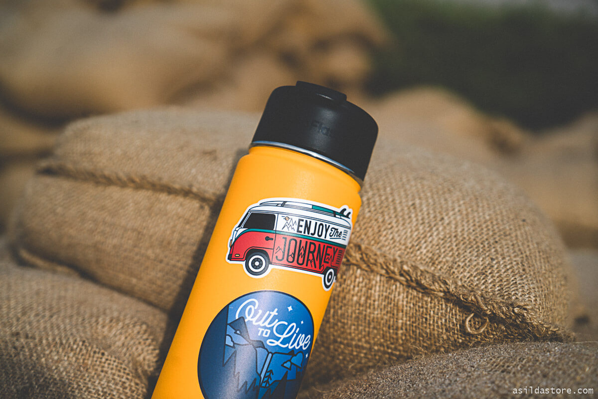 Hydro Flask bottles with stickers