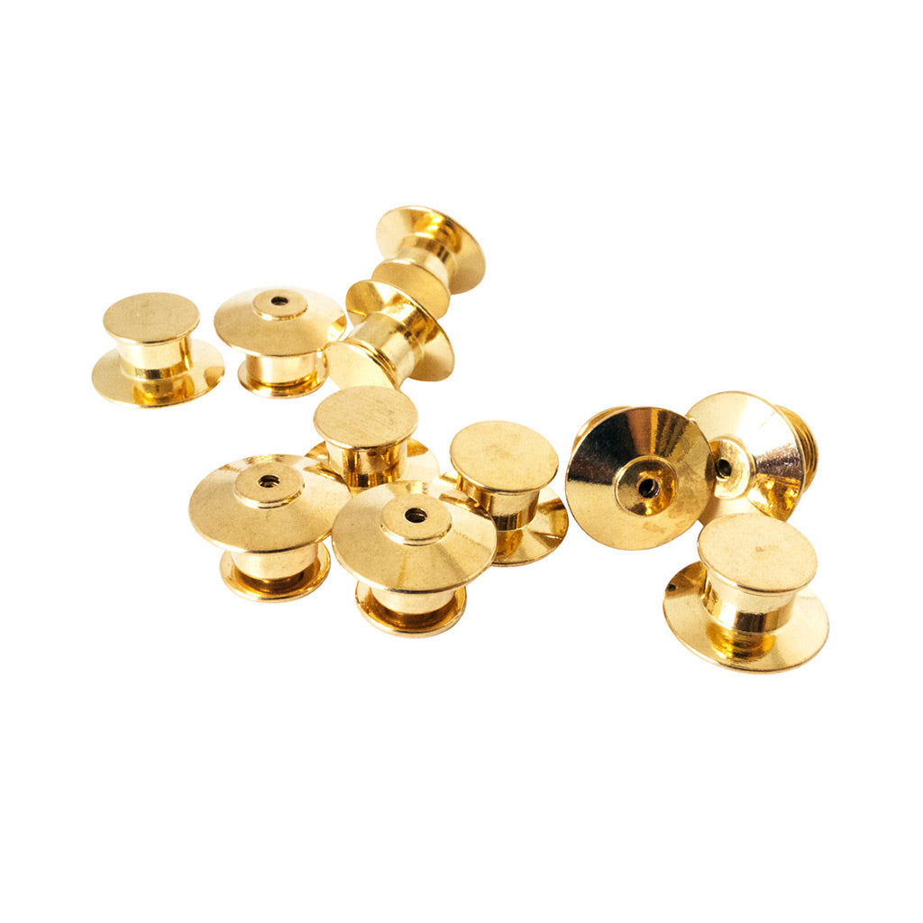 10 pack Pin Lock very secure. No Tools needed brass Locking Pin badge Backs