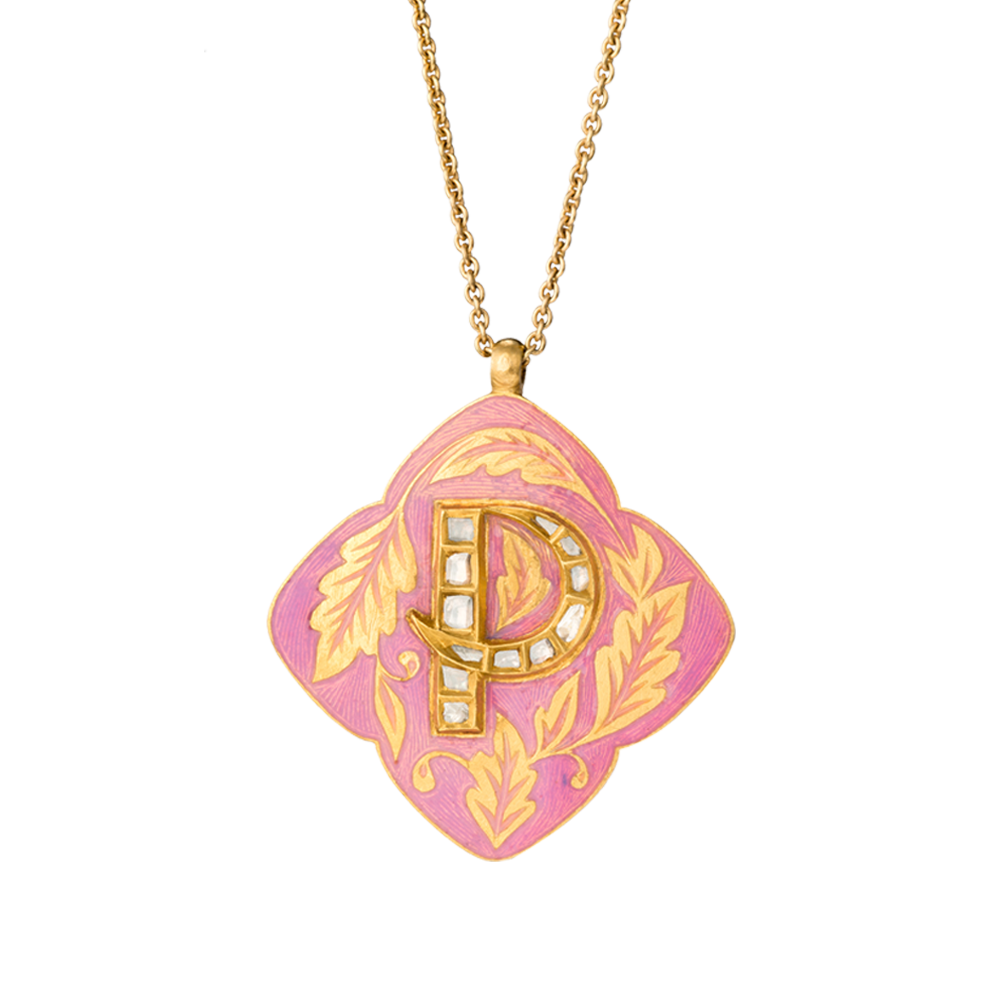 'Himalayan Cherry' Roya Initial Necklace 'P'