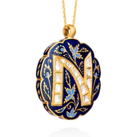 Indian Blue Lotus Roya Initial Necklace