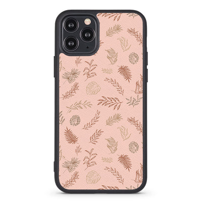 Boho Brown Leaves Vegan Leather iPhone Case - Supply Square