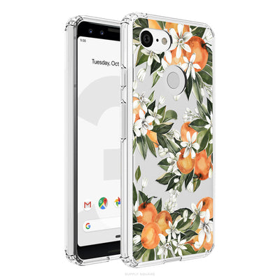 Clear Green And Orange Citrus Flowers Pixel Case, Pixel Case, Supply Square, Supply Square  - Supply Square