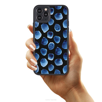 Blue Polka Dots Vegan Leather iPhone Case - Supply Square