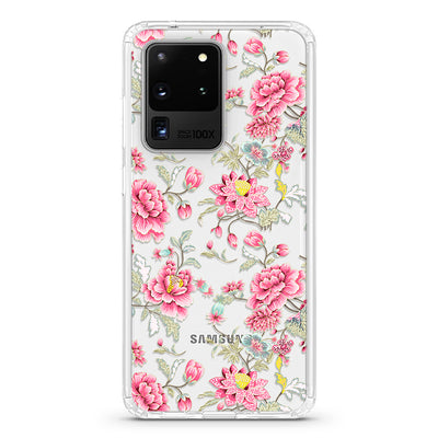 Clear Vintage Pink Flowers Galaxy Case - Supply Square