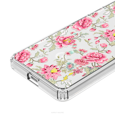 Clear Vintage Pink Flowers Pixel Case - Supply Square