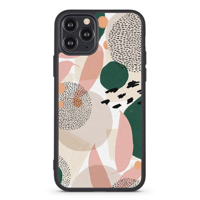 Pink And Green Abstract Vegan Leather iPhone Case - Supply Square