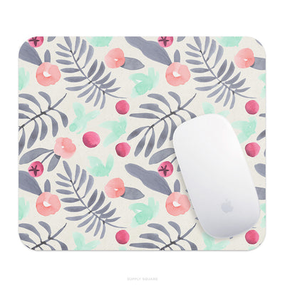 Pink And Grey Flowers Mouse Pad - Supply Square