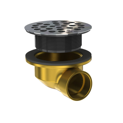 "Drain - Shower, 1-1/2"" outlet brass, low profile, round top, side discharge for preformed shower bases - OS&B"