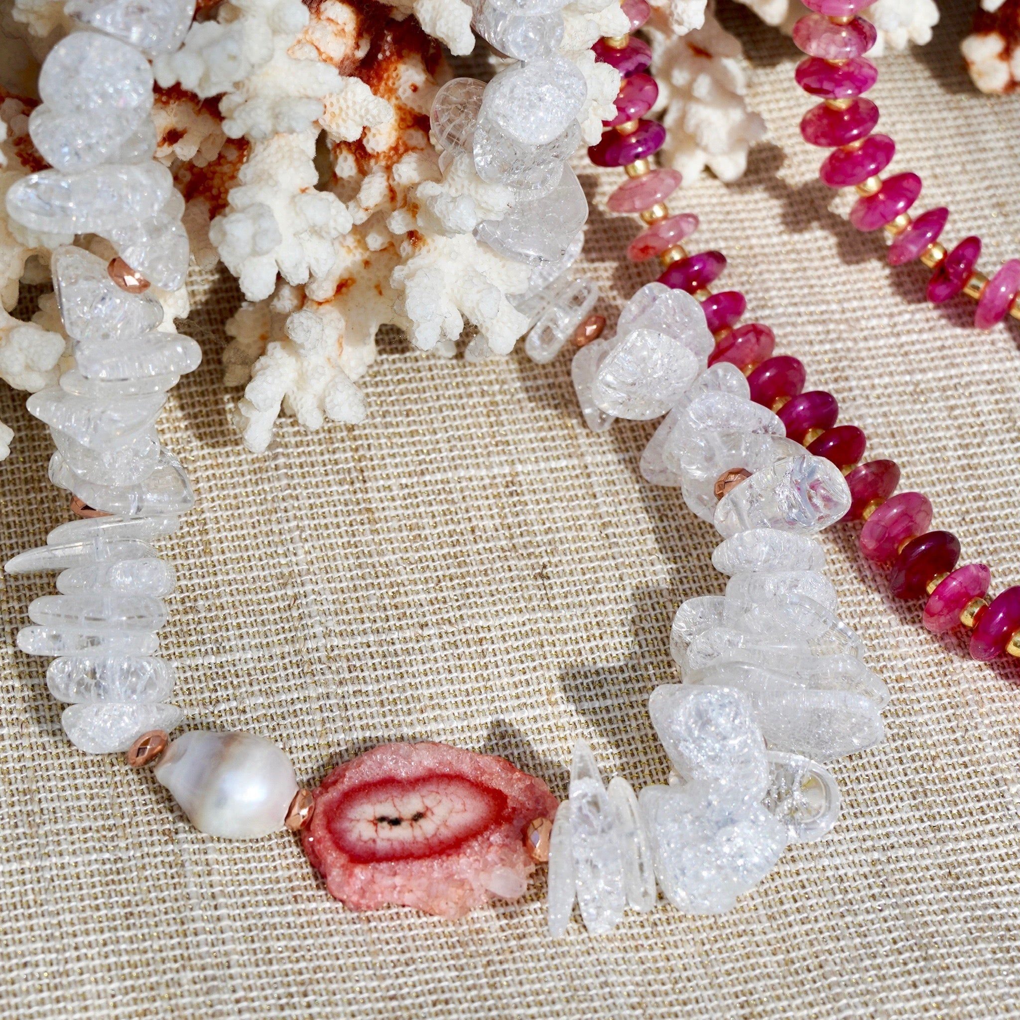 Clear Quartz Necklace with Pink Solar Quartz Focal And Baroque Pearl