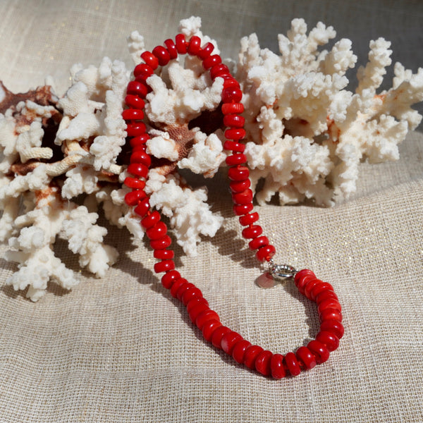 Red Hand Knotted Coral Necklace