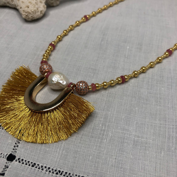 Short Statement Necklace with Rhodocrosite and Gold Silk Fan Focal