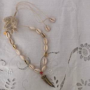 Shell Necklace with Bronze and coral Tusk Pendant