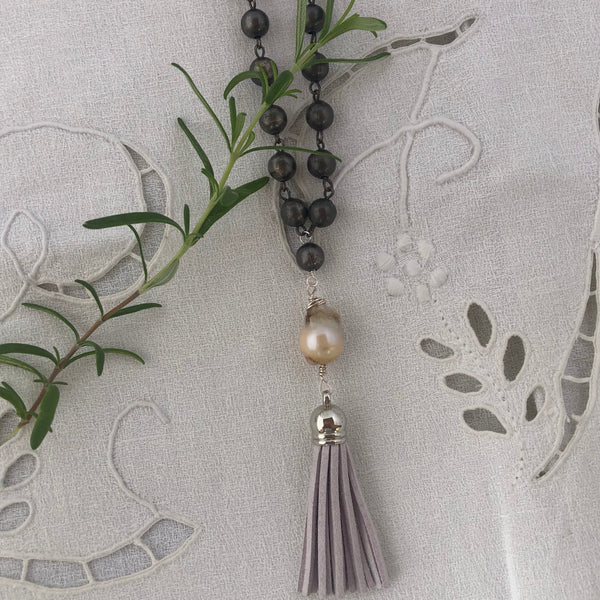 Long Hematite Round Chain with Baroque Pearl and Suede Tassel