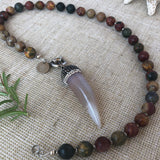 Jasper Strand with Crystals and Agate Tusk.