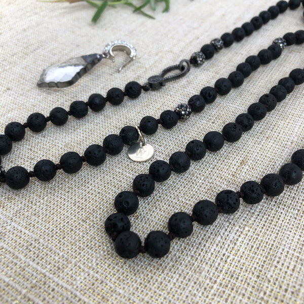 Lava Rock Necklace with Detachable Pendant