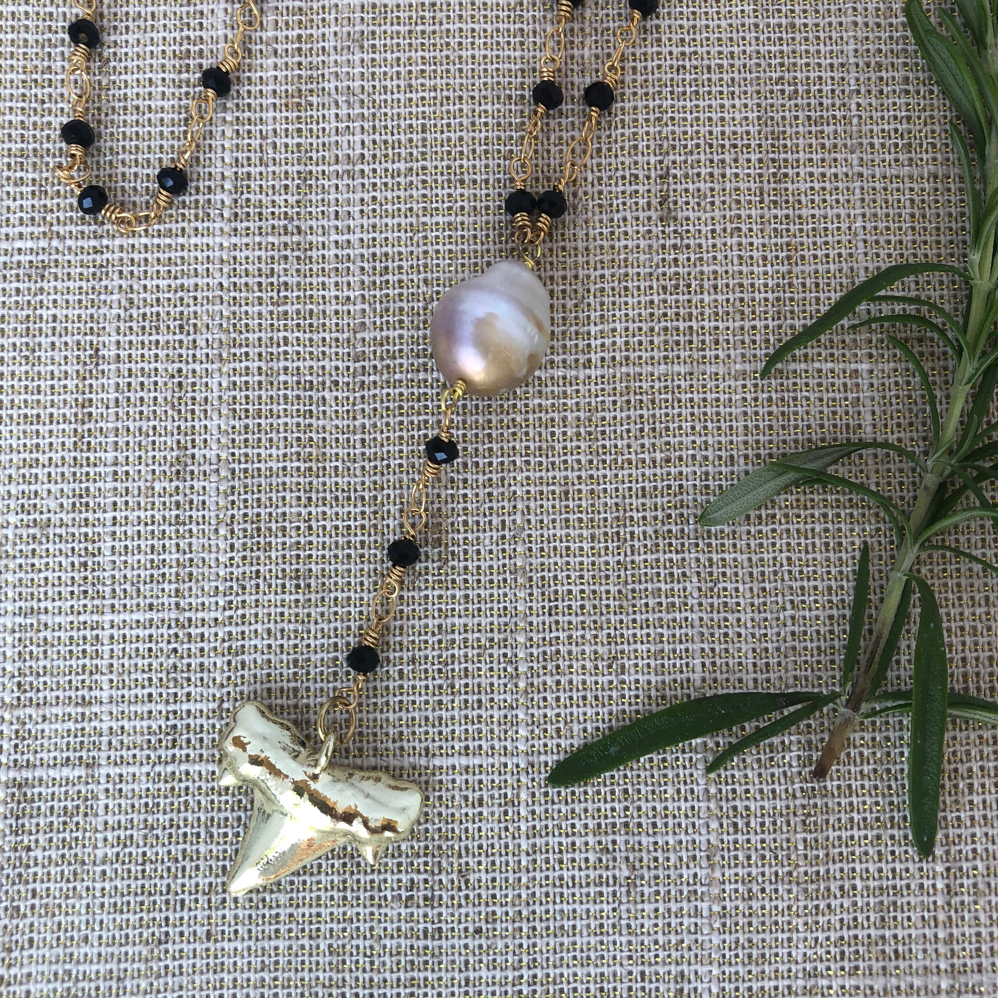 Rosary Chain with Shark Tooth Pendant