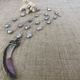 Fresh Water Pearls and Shell Tusk Pendant