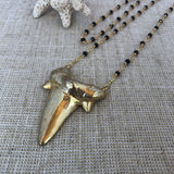 Layering Necklaces with Golden Shark Tooth Pendant