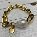 Beautiful Gold Bracelet with Baroque Pearl