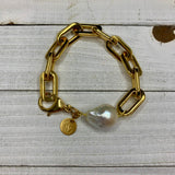 Gold Chain link Bracelet with Baroque Pearl