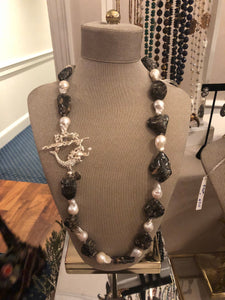 Hand Knotted Fossil Stone and Baroque Pearls