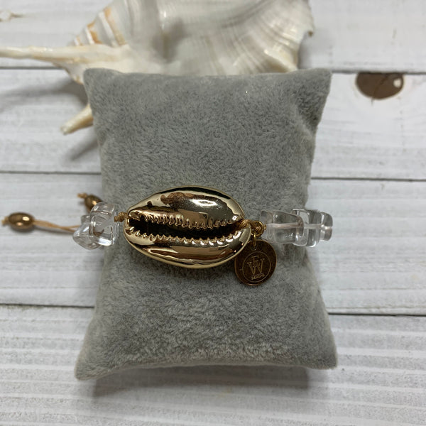 Quartz and Gold Cowry Shell Bracelet