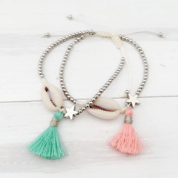 Dainty Star, Shell and Tassel Bracelet