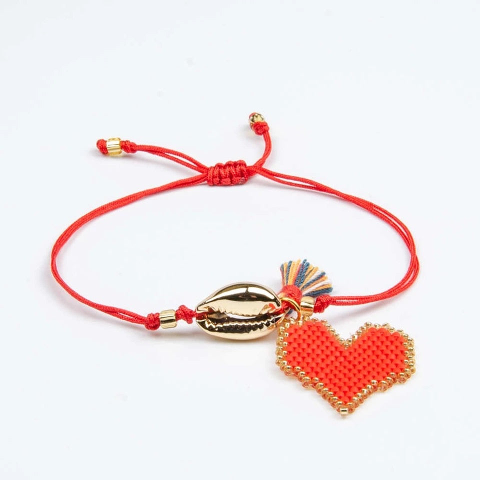 Cowry Shell and Heart Bracelet