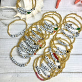 Words in Gold Beads Stretchy Bracelets