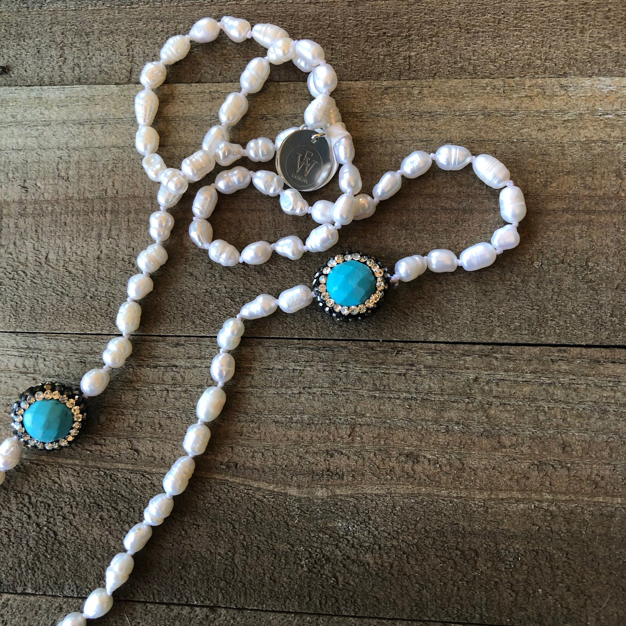 Hand Knotted Fresh Water Pearls Strand with Turquoise and Pave Crystal Beads