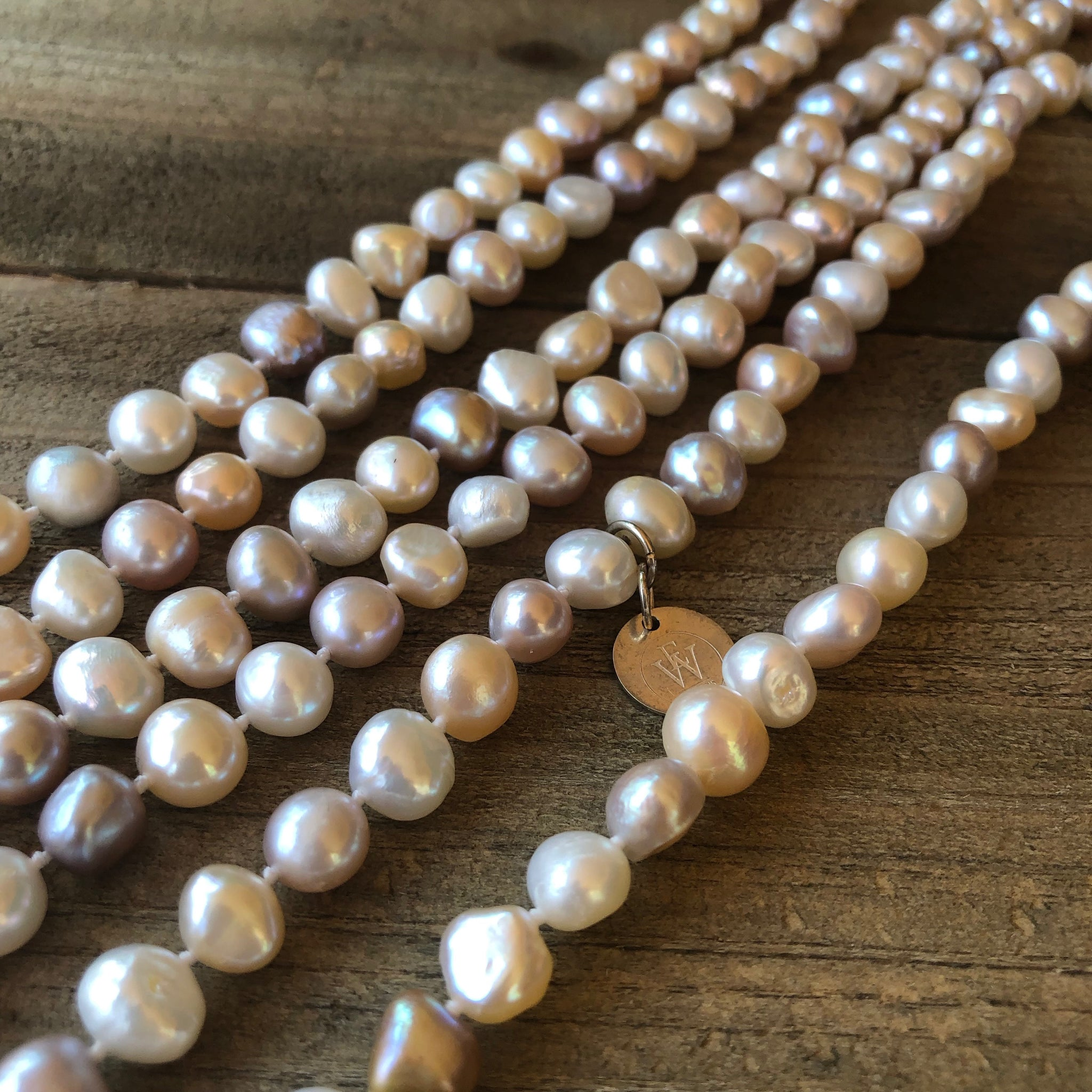 Hand Knotted Pastel Fresh Water Pearls Strand