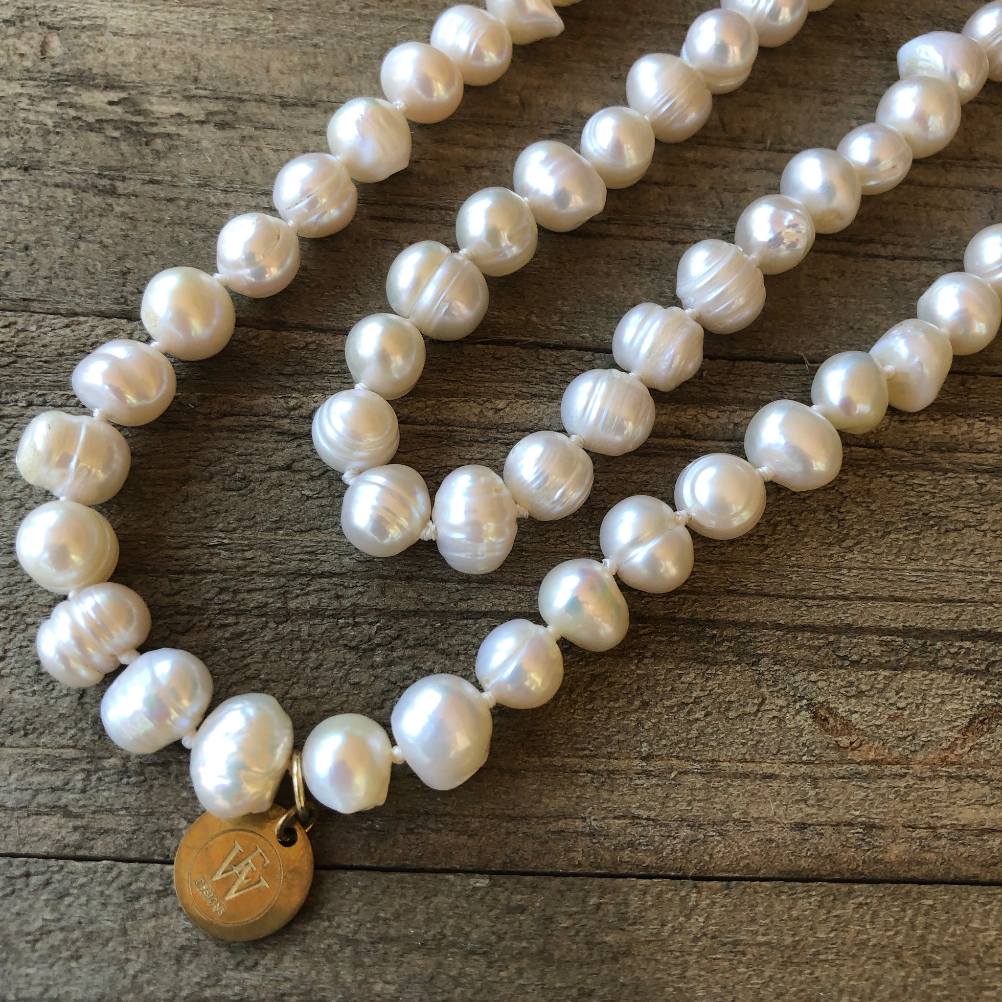 Hand Knotted White Potatoe Fresh Water Pearl Strand
