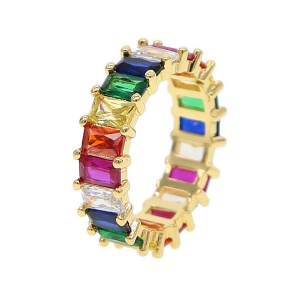 Muticolor Ring Baguette