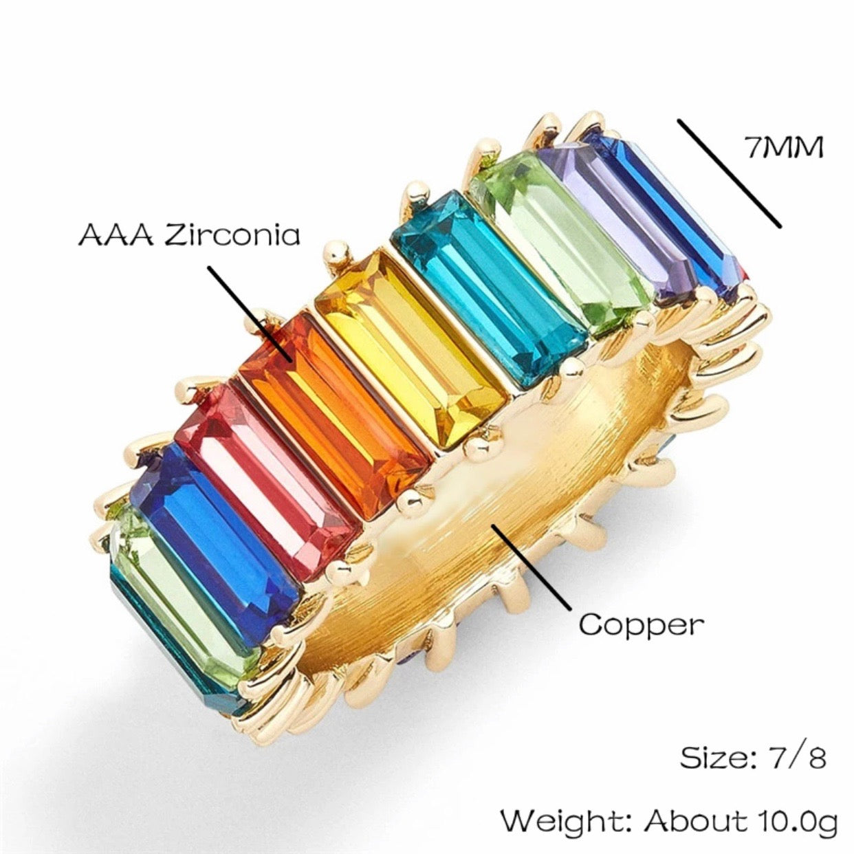 Multicolor Baguette Ring (lighter colors)
